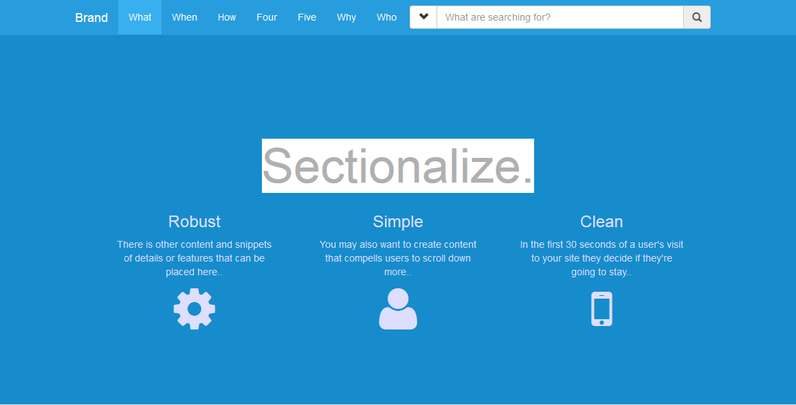 Sectionalize Bootstrap Template