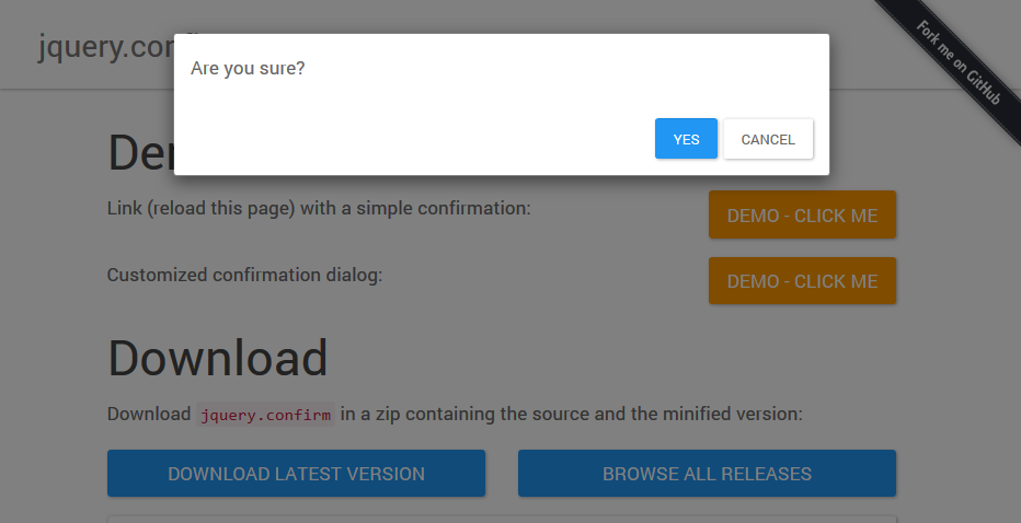Confirm dialogs with jQuery and Bootstrap