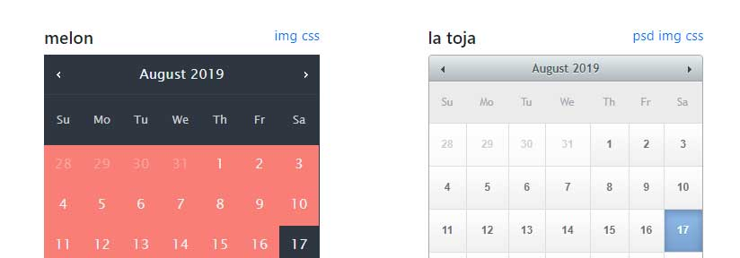 jquery datepicker skins