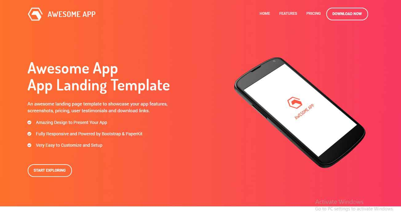 bootstrap 4 free landing page template