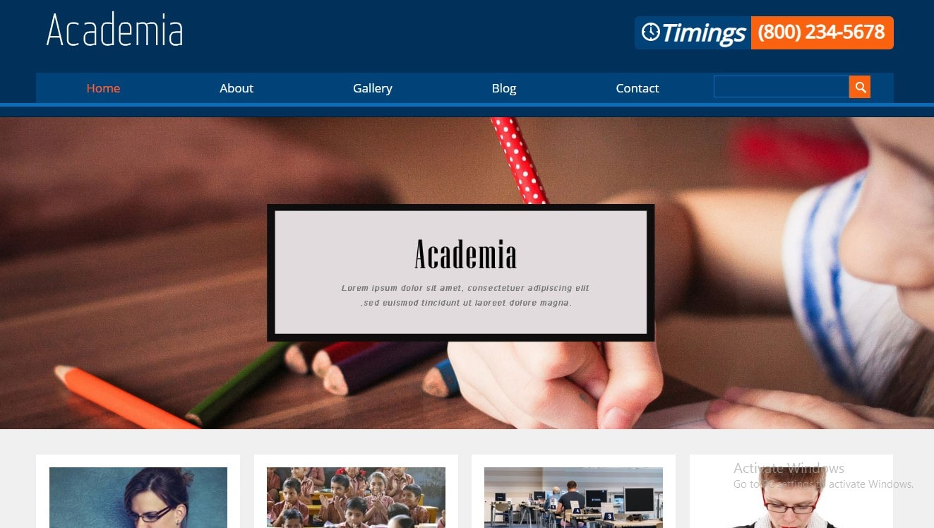 e learing website template