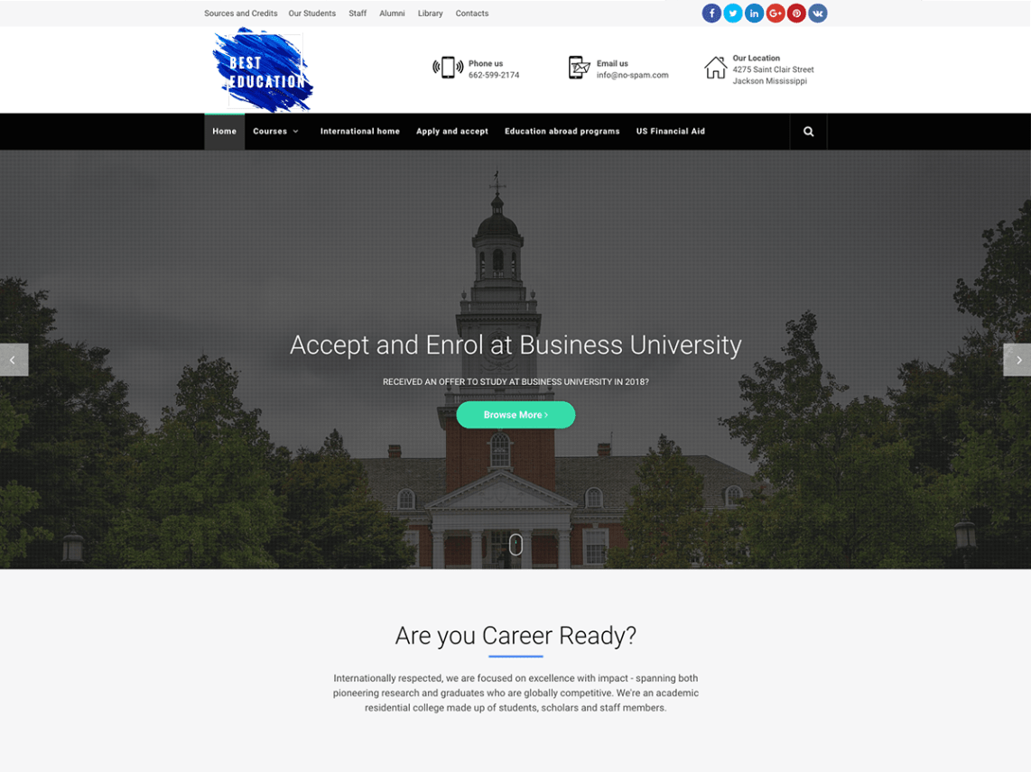 free high school wordpress theme