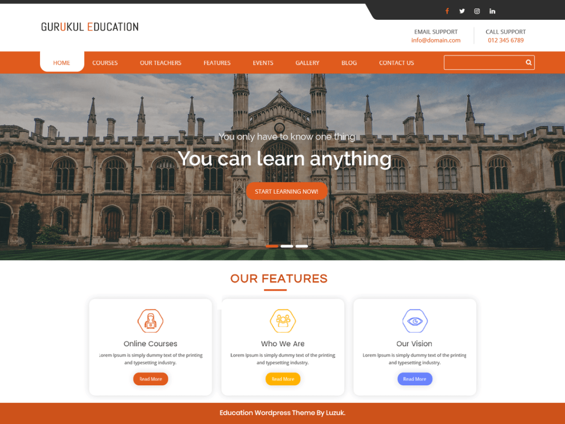 university education responsive wordpress theme free download