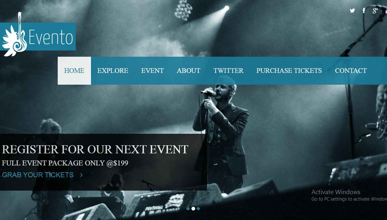 event planner website free template