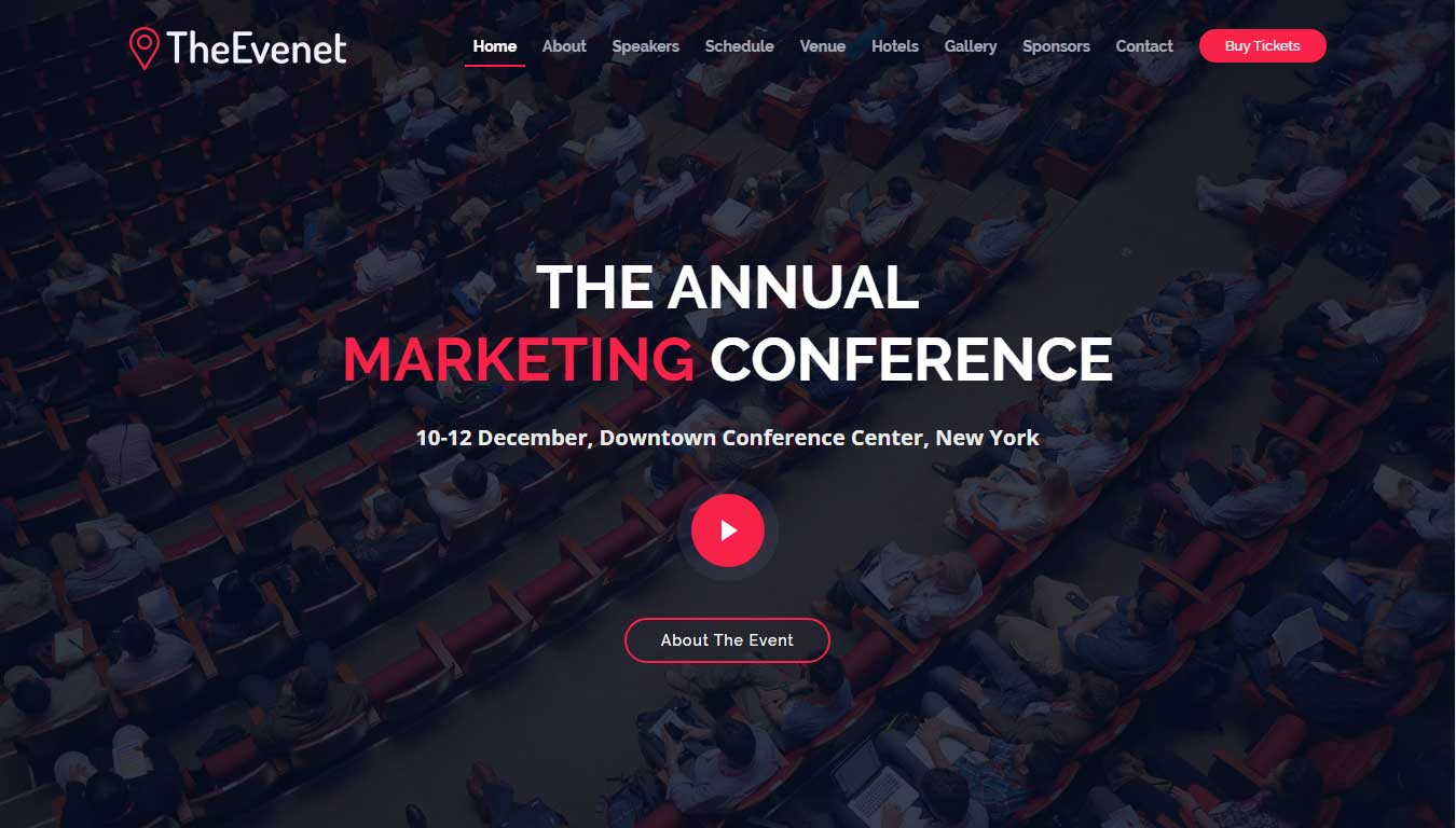 event planner website template free download
