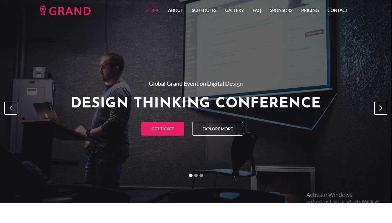 free event website template