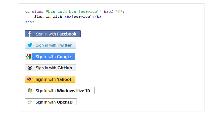 CSS3 Social Sign-in Buttons with icons