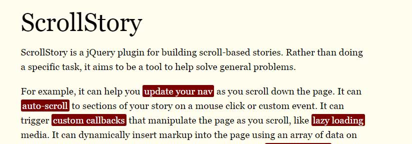 jQuery plugin for building scroll based stories