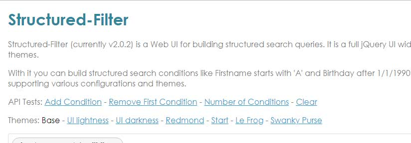 Web UI for building structured search or filter queries