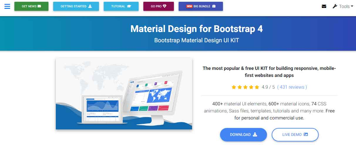 Material Design with Powerful and free UI KIT for Bootstrap 4