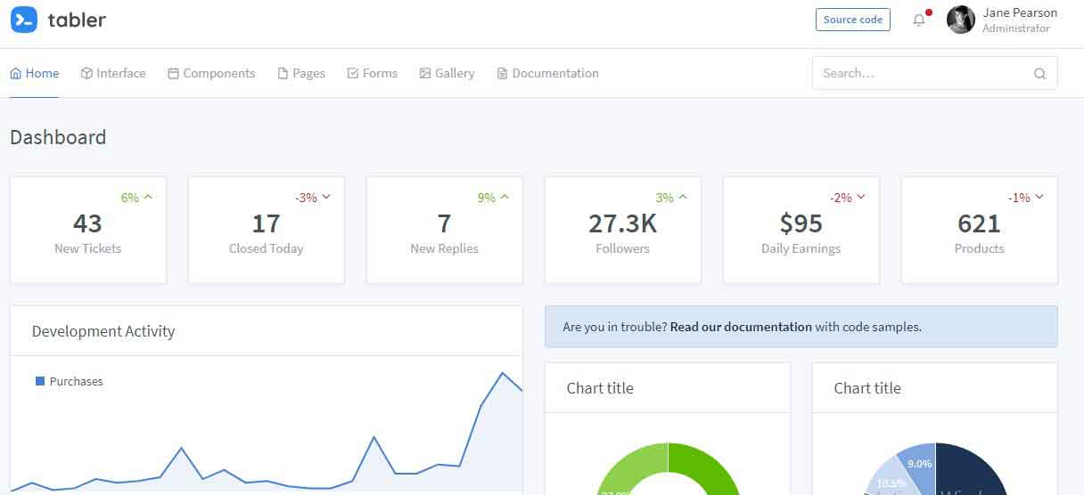 Open Source HTML Dashboard UI Kit built on Bootstrap 4