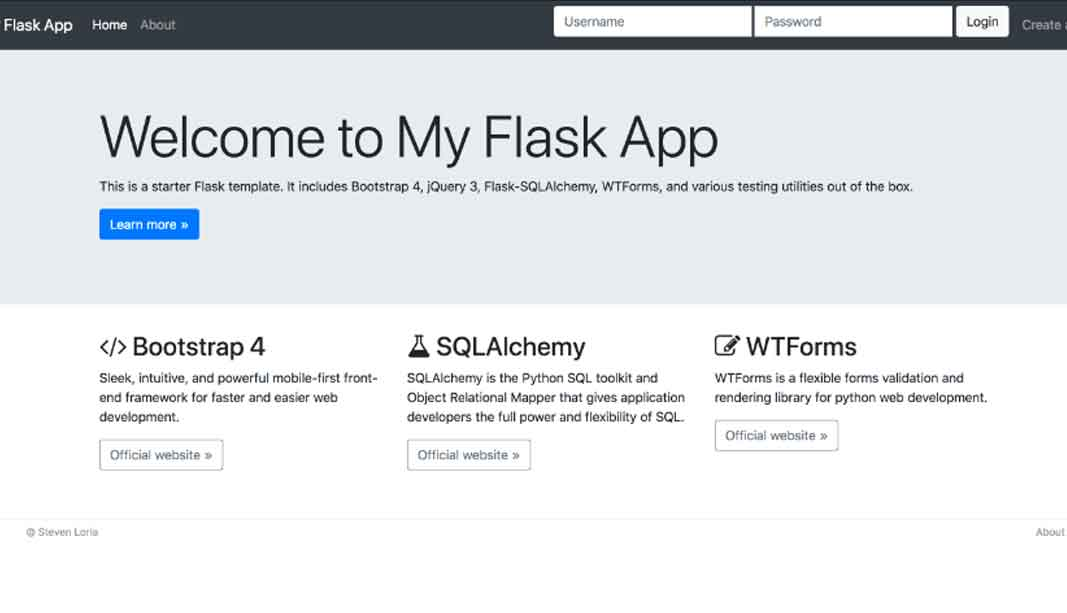 Flask template built with Bootstrap 4